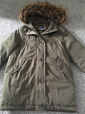 Girls Khaki Green Parka Coat GAP Age 8-9 Years