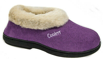 Womens Ladies Mule Slip On Plum Slippers Fur Lined Collar Warm Lined Coolers