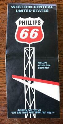 VINTAGE GOUSHA 1960s PHILLIPS 66 Road Map WESTERN CENTRAL UNITED STATES