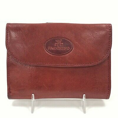 FACCHINO Brown Vintage Calf Leather Wallet Small Rectangle Unisex TH281220