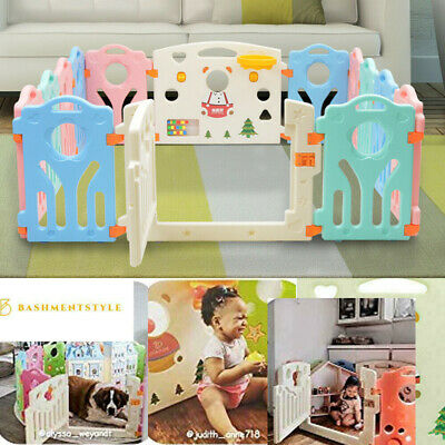 14+2 Panel Large Foldable Baby Playpen Kids Plastic Play Pens Room Divider Toy