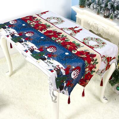 Christmas Table Runner Decor Tapestry Linen Tablecloth For Christmas Decor