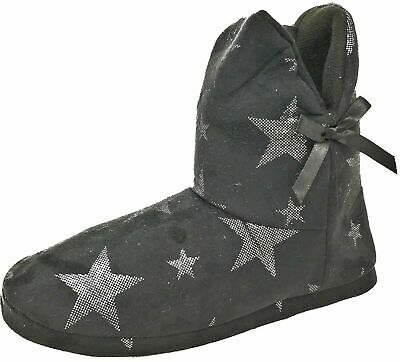 Ladies Teens Girls Black Star Bootie Slippers With Bow Size Womens 3-8