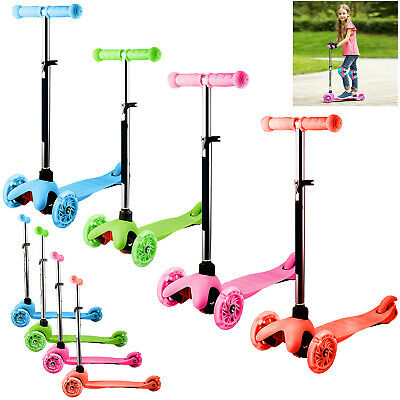 Kids Scooter Child Kick Three 3 Wheel T-Bar Push Adjustable Folding Toy Boy Gift