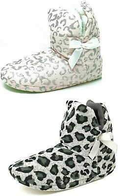 Ladies Teens Girls Leopard Print Pink Grey Bootie Slippers Size Womens 3-8
