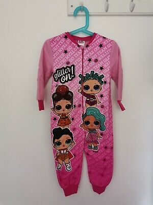 Girls Childrens Official LOL Surprise Fleece One Piece All In One Pyjamas