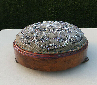 Victorian Style Beadwork & Woolwork Foot Stool - With Bead Loss Condition A/F
