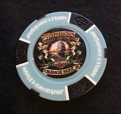 Orange Park, Florida Harley Davidson Poker Chip / Aqua & Black