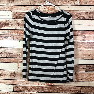 Old Navy Size Medium Gray Black Striped Long Sleeve Pullover Knit Top