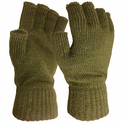 Mens Winter Warm Thermal Gloves Knitted Fingerless Half Finger Fishing Hunting