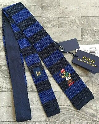 Ralph Lauren Boys Square End Bear Tie Hand Made In Italy Bnwt