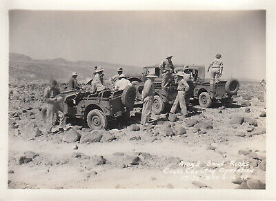 Original WWII Photo US Army TROOPS IN JEEPS  Desert Sand 1942 CAMP SEELEY 25