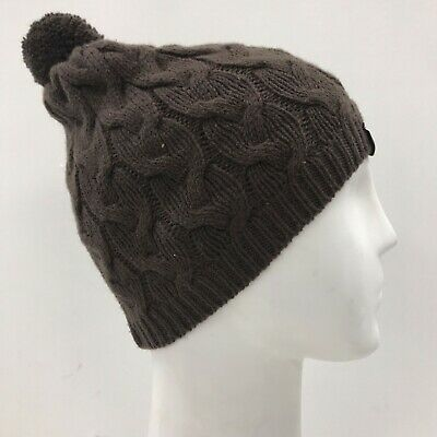 UGG AUSTRALIA Brown Cable Knit Beanie Bobble Hat Women's Winter Soft TH281217