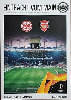 2019 EINTRACHT FRANKFURT v ARSENAL EUROPA LEAGUE GROUP STAGE PROGRAMME