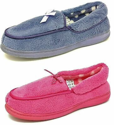 Ladies Womens Teens Pink Blue Moccasin Slippers Girls Mules Size 3-8