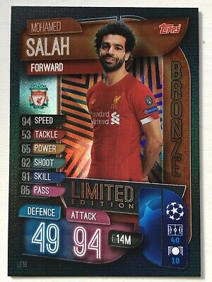 Match Attax 2019/20 Limited Edition Mohamed Salah Liverpool Bronze Le5B