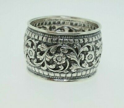 Antique/Vintage Sterling Silver Repousse Napkin Ring - Mono H - 25.6 grams