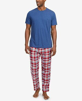 $64 Nautica Mens Woven Pajama Flannel Set Pants Shirt Red Blue Solid Sleepwear M