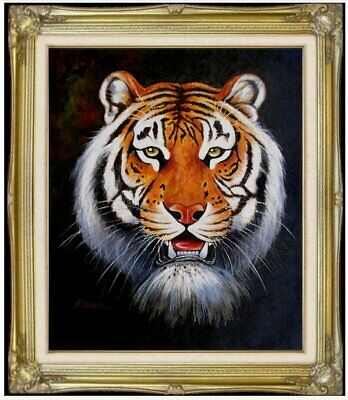 Framed, Portrait of a Tiger Head, Quality Hand Painted Oil Painting, 20x24in