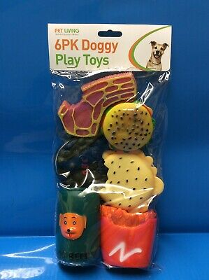 Winners Pet Living 6PC Squeaky Dog Puppy Toys Assorted Squeaky Vinyl Dog Toys
