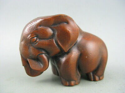 Antique Chinese Old Boxwood Hand Carved Elephant Statue