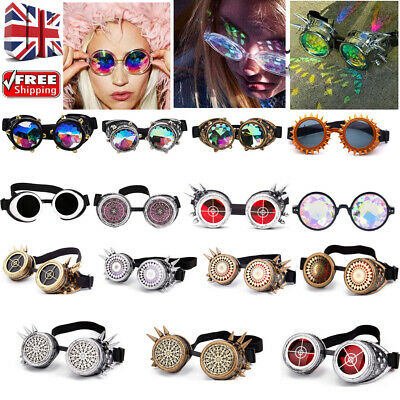 Steampunk Festival Spiky Kaleidoscope Lens Goggles Glasses Retro Clubbing Party