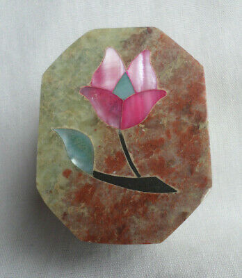 Vintage Hand Carved Octagon Soapstone Trinket Box Inlay Abalone Shell Stone Pink
