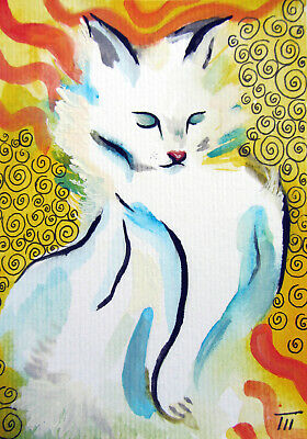 ORIGINAL ACEO painting, Sketch Card, watercolor,white cat,animals,yellow,pen