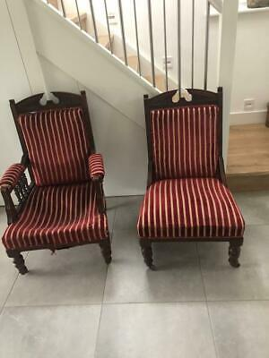 Pair Of Edwardian King And Queen/library nursing Chairs in Stripy red velvet