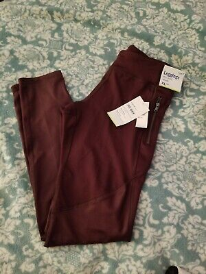 New Old Navy Active Girls Size XL (14) Leggings Maroon Stretch Go-Dry
