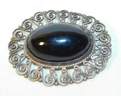 Beautiful old Sterling Silver 925 Marked JE with Black Center Stone Pin Brooch