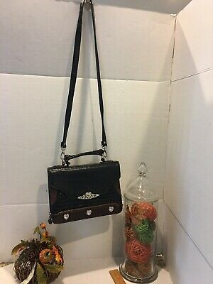 Brighton Crossbody Organizer Purse,  Croc Embossed Black Leather Tons Of Space