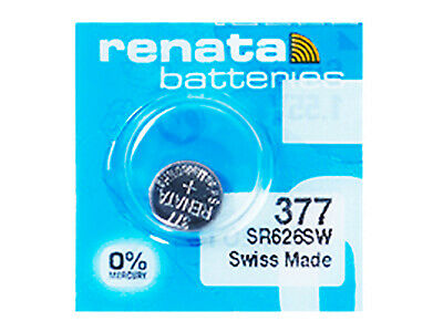 Renata 377 Cell Battery Watch Mercury Free Silver Oxide SR626SW Swiss 1.55V