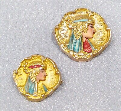 Antique Victorian RARE Gold filled Egyptian Revival Pharaoh Bust Enamel Pins Set