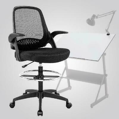 Ergonomic Mid-Back Mesh Drafting Chair With Lumbar Support Flip-Up Arms Desk Com