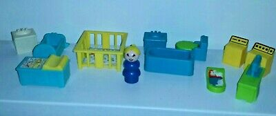 Lot Vintage 1972 Fisher Price Little People Home Furniture Baby Bathroom Sewing
