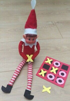 Elf Size Mini Naughts & Crosses Game Tic-Tac-Toe Props Accessories On The Shelf