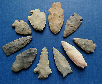 10 AMERICAN INDIAN ARROWHEADS LANCASTER CO. PA NATIVE AMERICAN - Excellent Group