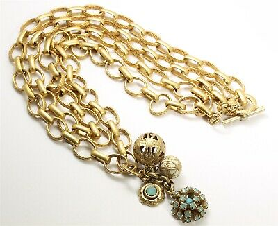 Ornate Designer Gold Tone 2-Strand Textured Chain Link Rhinestone Charm Necklace