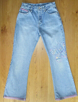 Gap - Girls 9-10-11 Years - Blue Butterfly Embroidered Patchwork Jeans Trousers