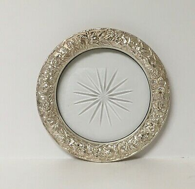Kirk Repousse Sterling Silver and Crystal Wine Coaster