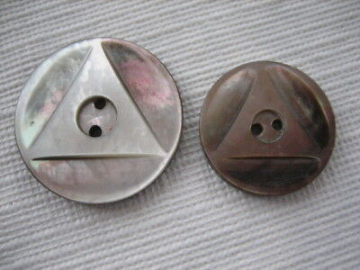 Vintage Mother Daughter Matching Pair MOP Pearl Shell Sew Thru Buttons - P191
