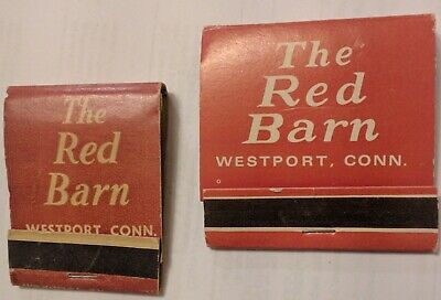 The RED BARN 2 Matchbooks WESTPORT CT Rooster COCK Connecticut Rustic American