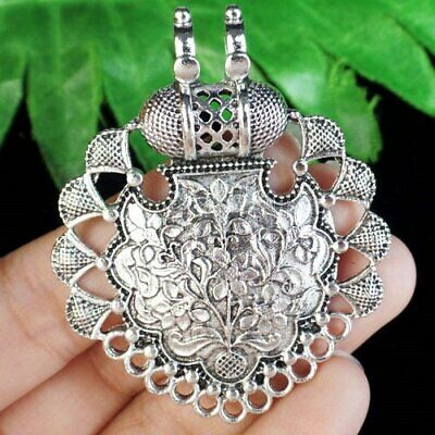 57x46x7mm Carved Tibetan Silver Flower Connector Pendant Bead A45405