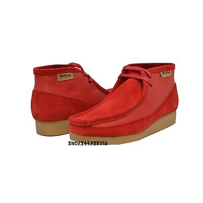 New Men British Walkers Original Exclusive Two Tone Red Leather Suede Wallabees