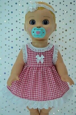 "Play n Wear Dolls Clothes For 17"" Luvabella Doll HOT PINK GINGHAM DRESS~HEADBAND"