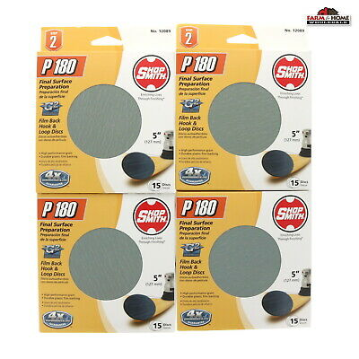"5"" 60 Pack 180 Grit Waterproof Hook and Loop Film Sanding Discs ~ New"