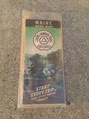 RARE WW2 Cities Service Oils Once Always Road Map MAINE ME Gas Station Antique