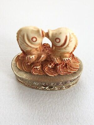 Estee Lauder Cinnabar AFFECTIONATE Kissing FISH Solid PERFUME COMPACT Ivory 1981
