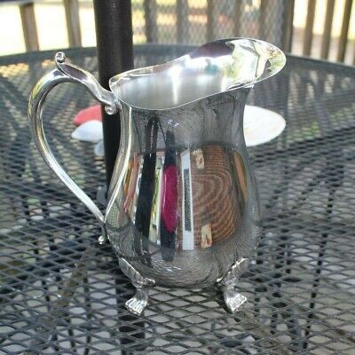 Vintage Leonard Silver Plate Pitcher With Ice Guard 4 Toe Footed